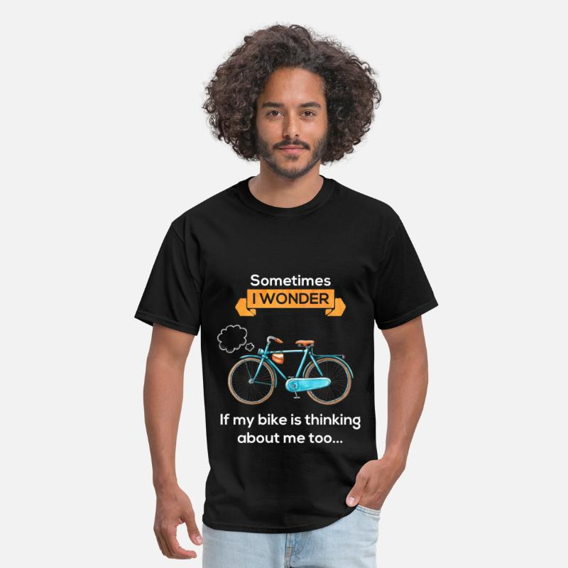 Bike T-Shirts - Sometimes I wonder if my bike is thinking about me - Men's T-Shirt black