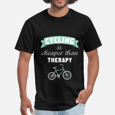 Cycling Clothes Cycling - Cycling is Cheaper Than Therapy - Men's T-Shirt