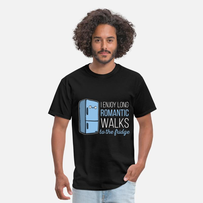 Funny T-Shirts - Fridge -I enjoy long romantic walks. To the fridge - Men's T-Shirt black