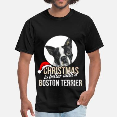 Boston Terrier Clothing Boston terrier - Christmas is better with a Boston - Men's T-Shirt