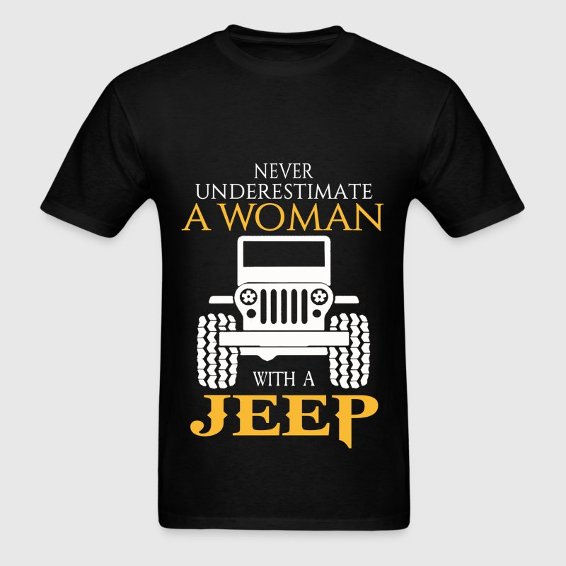 Never Underestimate A Woman With A Jeep - Men's T-Shirt