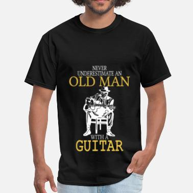 Old Man With A Guitar Never Underestimate Old Man With Guitar Degree - Men's T-Shirt