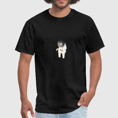 Funny sloth astronaut with headphones - Men's T-Shirt