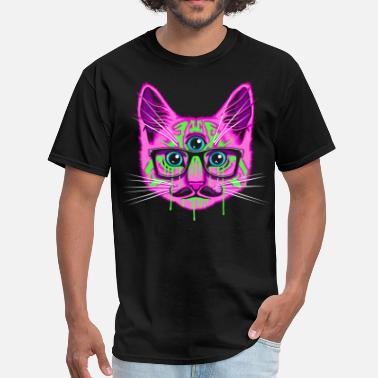 Trippy Psychedelic Trip Cat - Men's T-Shirt