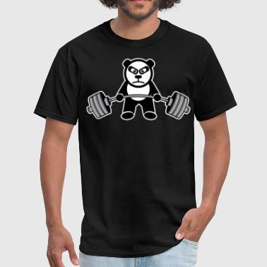 Panda Bear Deadlift Anime Cartoon - Men's T-Shirt
