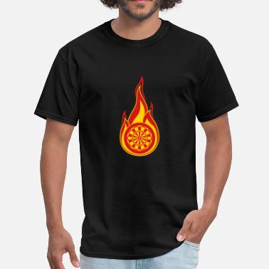 Logo Design target fire fire flames hot club logo play darts c - Men's T-Shirt