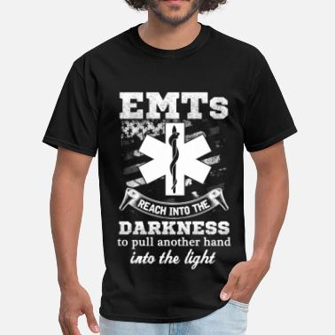 Firefighter Baby Blanket EMT - Reach into the darkness to pull another hand - Men's T-Shirt