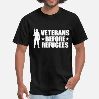 Jeep Skull Veterans Before Refugees Trump Military Support Tr - Men's T-Shirt