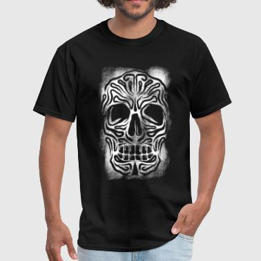 Dark Skull Stencil White  - Men's T-Shirt
