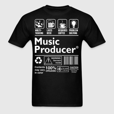 Music Producer Multitasking Beer Coffee Problem - Men's T-Shirt