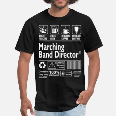 Marching Marching Band Director Multitasking Beer Coffee  - Men's T-Shirt