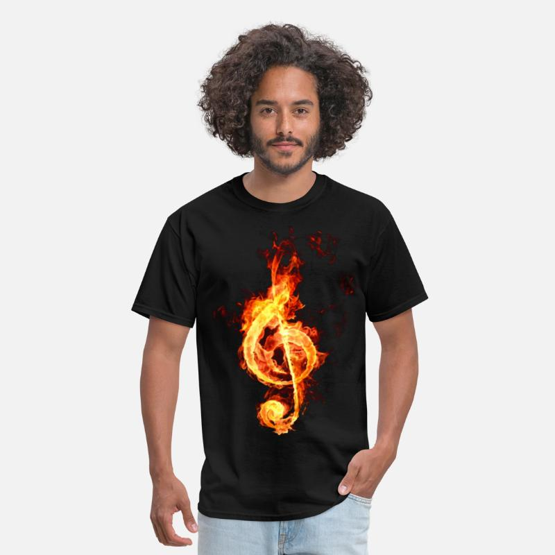 Musical T-Shirts - treble clef on fire - Men's T-Shirt black