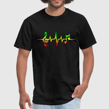 Rastafari REGGAE MUSIC, NOTE, PULSE, FREQUENCY, CLEF - Men's T-Shirt