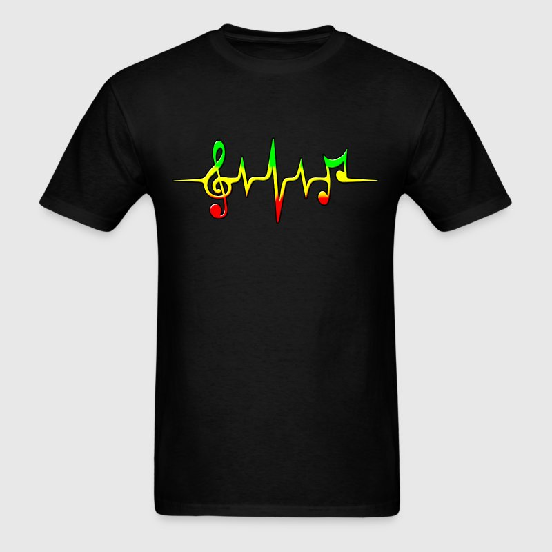 REGGAE MUSIC, NOTE, PULSE, FREQUENCY, CLEF - Men's T-Shirt