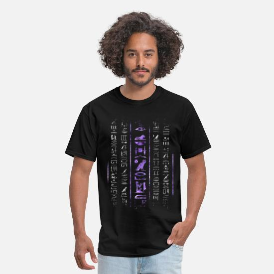 Ancient T-Shirts - Amethyst and Silver Egyptian hieroglyphics  - Men's T-Shirt black
