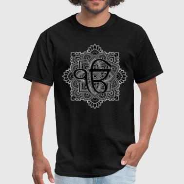 Black and white Ek Onkar / Ik Onkar  in mandala - Men's T-Shirt