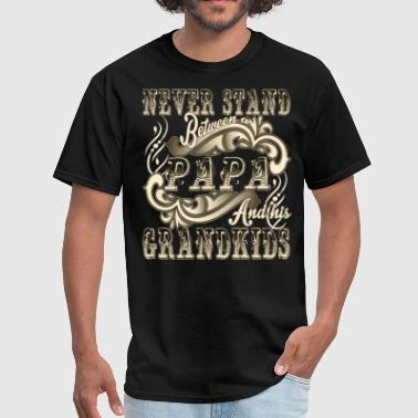 Papa And Grandson Never Stand Between A Papa & His Grandkids T Shirt - Men's T-Shirt