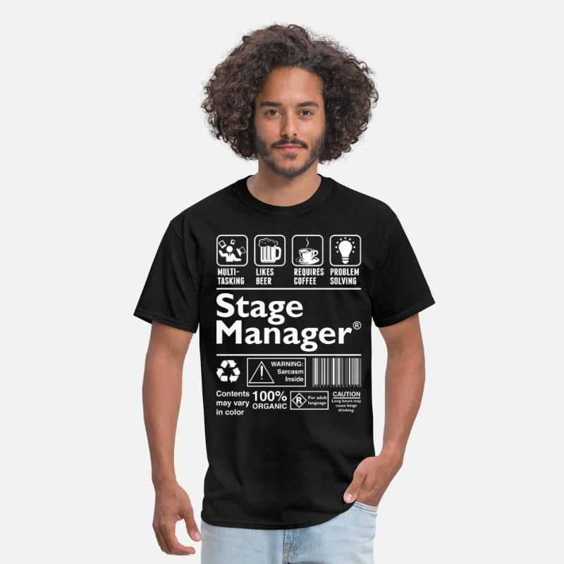 Stage T-Shirts - Stage Manager Multitasking Beer Coffee Problem  - Men's T-Shirt black