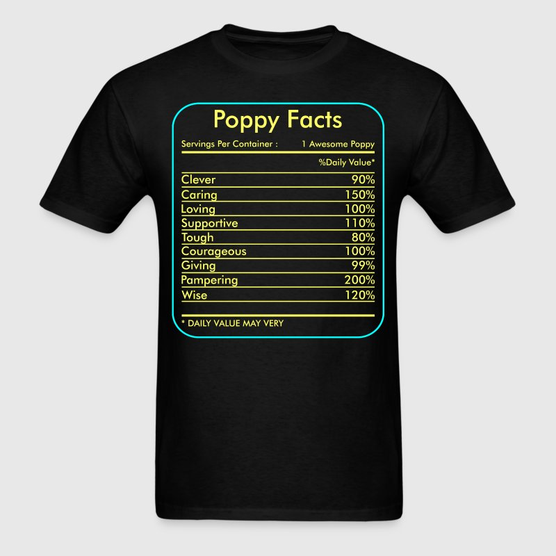Poppy Facts Servings Per Container Tshirt - Men's T-Shirt