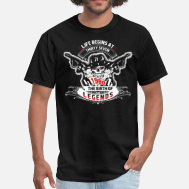 Begins At Thirty Life Begins at Thirty Seven 1980 The Birth of Lege - Men's T-Shirt