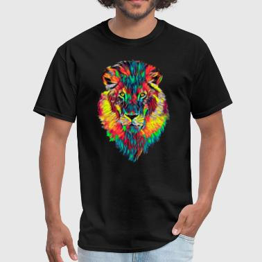 Jungle-cat Lion Face Head Portrait Great Boss King Mature Color Designed - Men's T-Shirt