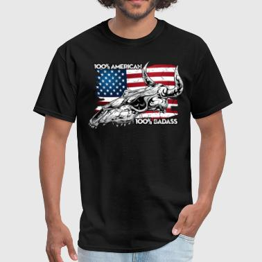 Biker Flag American Badass - Men's T-Shirt