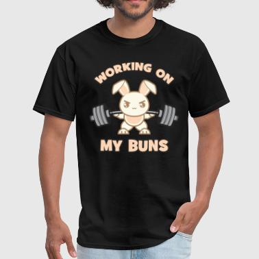 Working On My Buns, Funny, Cartoon, Anime, Cute - Men's T-Shirt