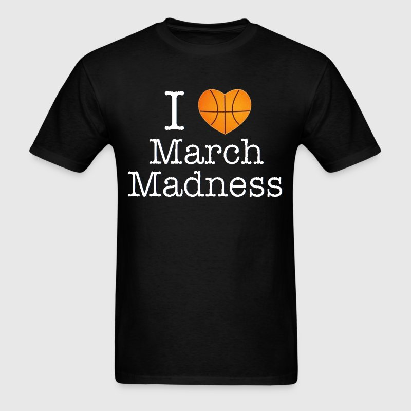 I Love March Madness Basketball Design White Font - Men's T-Shirt