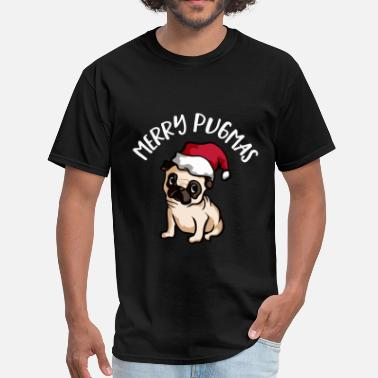 Merry Pugmas Christmas Merry Pugmas Dog with Christmas Hat - Men's T-Shirt