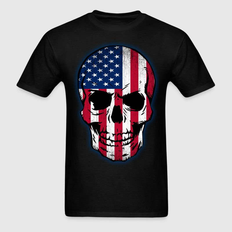 Vintage USA Flag Skull Design - Men's T-Shirt