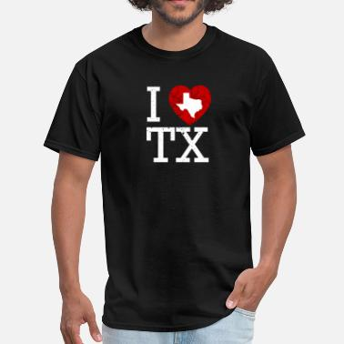I Heart Tx I Love Texas Red Heart Distressed - Men's T-Shirt