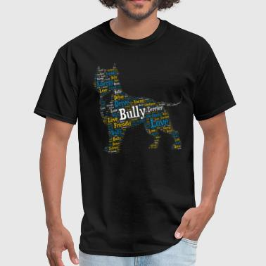 Love Staffordshire Bull Terrier Bully Word Art - Men's T-Shirt