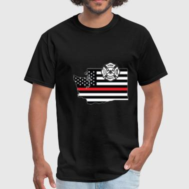 Washington Firefighter Shield Thin Red Line Flag - Men's T-Shirt