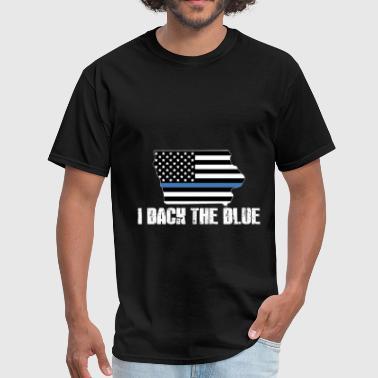 Iowa Police Appreciation Thin Blue Line I Back The Blue 2 - Men's T-Shirt