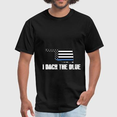 Back 2 Back Oklahoma Police Appreciation Thin Blue Line I Back The Blue 2 - Men's T-Shirt