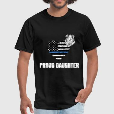 K-tees Thin Blue Line Police Daughter Family Appreciation American Flag - Men's T-Shirt