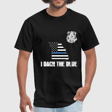 Support Law Enforcement Missouri Police Appreciation Thin Blue Line I Back The Blue - Men's T-Shirt