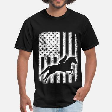 American Flag Horses Horse riding - Horse rider from American - Flag - Men's T-Shirt