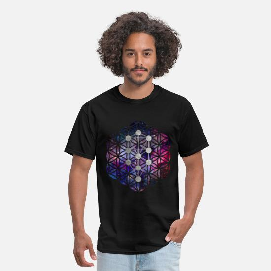 Kabbalah T-Shirts - Kabbalah TheTree of Life on flower of life - Men's T-Shirt black
