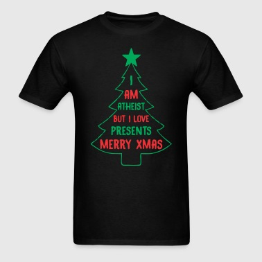 I am Atheist But I love Prestents, Merry Christmas - Men's T-Shirt