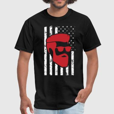 Beard Hipster USA Flag Patriotic T-Shirt - Men's T-Shirt