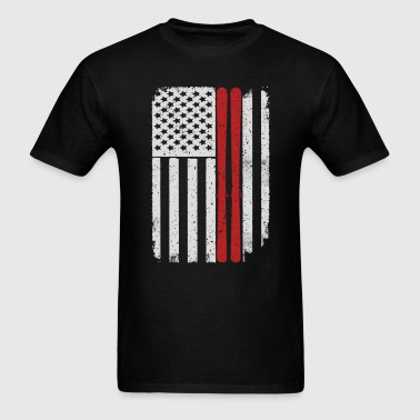 Skiing Mountains Skis Jumping - America USA Flag T - Men's T-Shirt