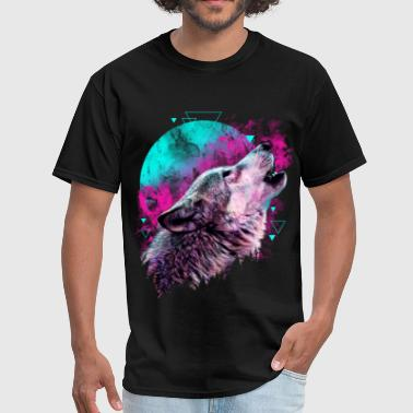 Colorful Wolf Howling T-shirt - Men's T-Shirt