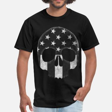 B&w American Skull in B&W - Men's T-Shirt