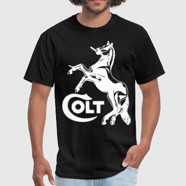 Colt Horse White Logo Amendment Pro Gun Brand Fire - Men's T-Shirt