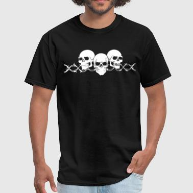 Barbed Wire Skulls with Sleeves Long Sleeve Biker - Men's T-Shirt