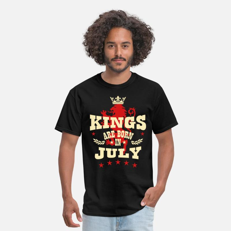 Cancer T-Shirts - Kings are born in July King Crown Lion Hero - Men's T-Shirt black