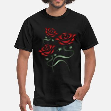 Black And Red Rose Red Roses - Men's T-Shirt