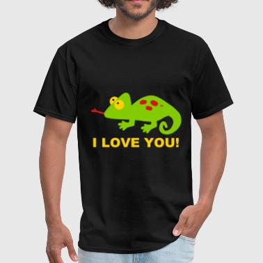 Chameleon I Love you Couple Lover Couples Fun  - Men's T-Shirt