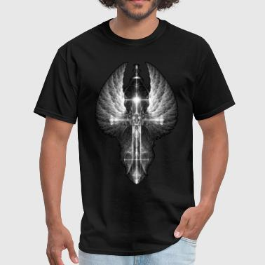 Heavenly Angel Wings Cross BW - Men's T-Shirt